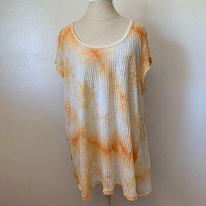 Orange and White Tie Dye Shirt